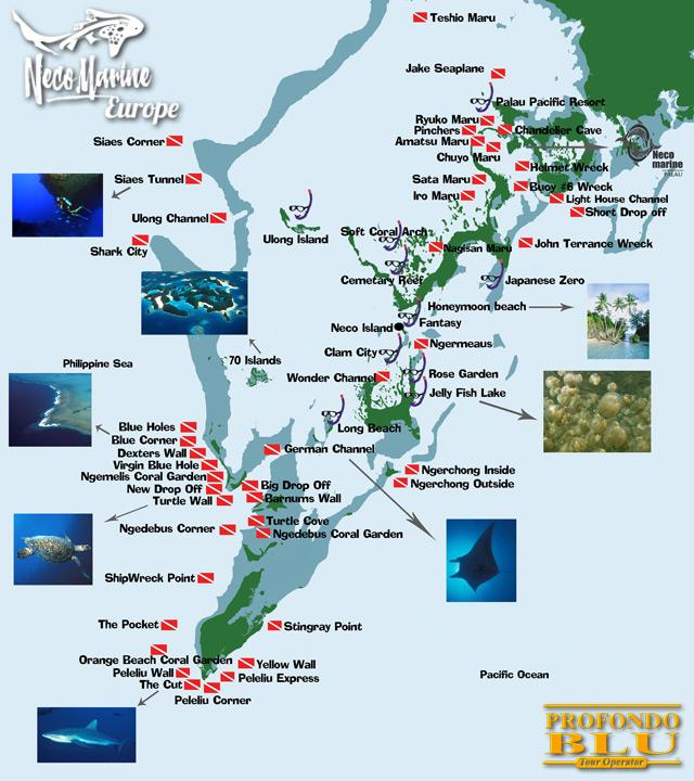 Palau Micronesia Neco Marine Europe Rock Island Tours - Palau map